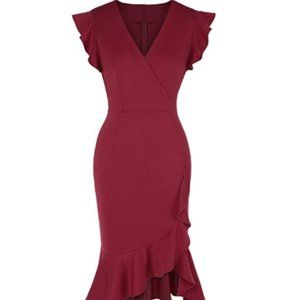 Womens Wrap V Neck Ruffle Sleeve Pencil Dresses